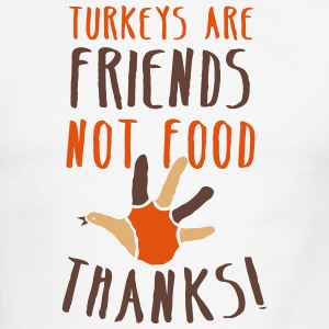 turkeys are friends not food Thanksgiving message T-Shirts - Men's Ringer T-Shirt