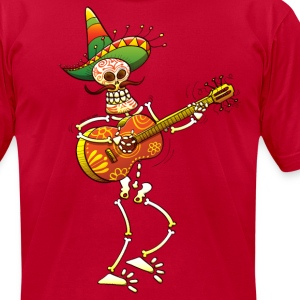 Mexican Skeleton Playing Guitar T-Shirts - Men's T-Shirt by American Apparel