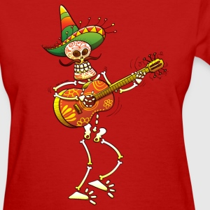 Mexican Skeleton Playing Guitar Women's T-Shirts - Women's T-Shirt