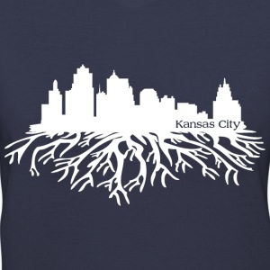 Kansas City Skyline Roots Women's T-Shirts - Women's V-Neck T-Shirt