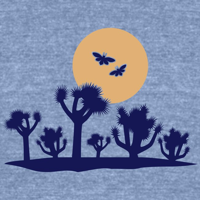 Joshua tree and moths - blue tri-blend tee