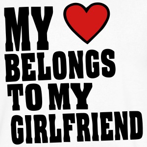 MY HEART BELONGS TO MY GIRLFRIEND T-Shirts - Men's V-Neck T-Shirt by Canvas