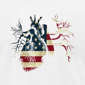 US Flag in Real Heart T-Shirts - Men's T-Shirt by American Apparel