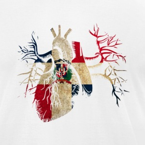 Dominican Republic Flag in Real heart T-Shirts - Men's T-Shirt by American Apparel
