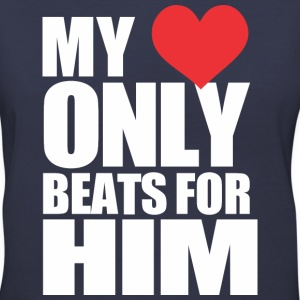 My Heart Beats for Him - Women's V-Neck T-Shirt