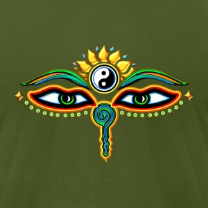 Buddha Eyes Lotus, Yin Yang, wisdom, enlightenment T-Shirts - Men's T-Shirt by American Apparel