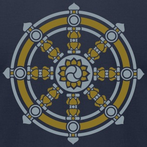 Dharmachakra, Darma Wheel of Law, Buddhist Symbol T-Shirts - Men's T-Shirt by American Apparel