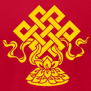 Eternal Knot, Endless, Lotus, Tibetan Buddhism, T-Shirts - Men's T-Shirt by American Apparel