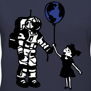 Astronaut Girl and the world Women's T-Shirts - Women's V-Neck T-Shirt