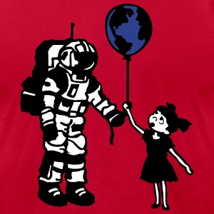 Astronaut Girl and the world T-Shirts - Men's T-Shirt by American Apparel