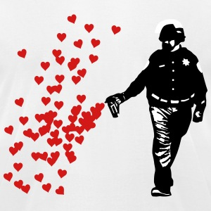 Stencil Police - Street Art Pepper Spray Cop heart T-Shirts - Men's T-Shirt by American Apparel