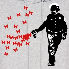 Police - Street Art Pepper Spray Cop Butterfly Hoodies