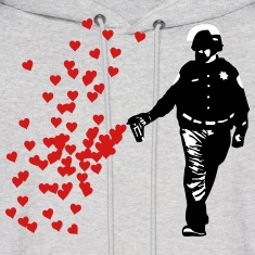 Stencil Police - Street Art Pepper Spray Cop heart Hoodies