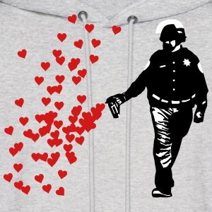 Stencil Police - Street Art Pepper Spray Cop heart Hoodies - Men's Hoodie
