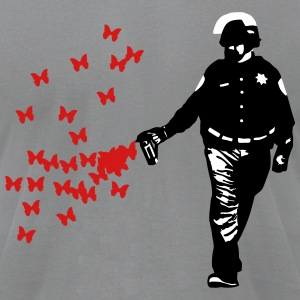 Police - Street Art Pepper Spray Cop Butterfly T-Shirts - Men's T-Shirt by American Apparel