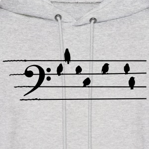 Music - Bass Clef birds as notes Hoodies - Men's Hoodie