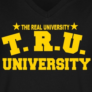 TRU-THE REAL UNIVERSITY T-Shirts - Men's V-Neck T-Shirt by Canvas
