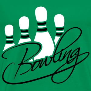 Bowling Pins Text Logo Design T-Shirts - Men's Premium T-Shirt