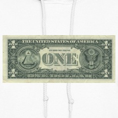 Mens White Dollar Bill Hoodie