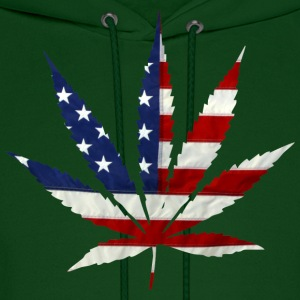 Marijuana Leaf American Flag - Men's Hoodie