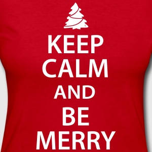 Keep Calm and Be Merry Christmas Long Sleeve Shirts - Women's Long Sleeve Jersey T-Shirt