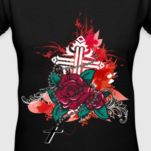 rose and rosary Women's T-Shirts - Women's V-Neck T-Shirt