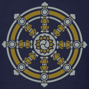 Dharmachakra, Darma Wheel of Law, Buddhist Symbol T-Shirts - Men's T-Shirt