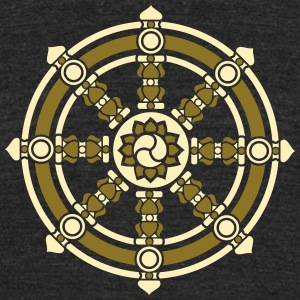 Dharmachakra, Darma Wheel of Law, Buddhist Symbol T-Shirts - Unisex Tri-Blend T-Shirt by American Apparel