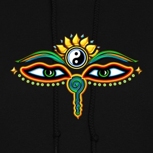 Buddha Eyes Lotus, Yin Yang, wisdom, enlightenment Hoodies - Women's Hoodie