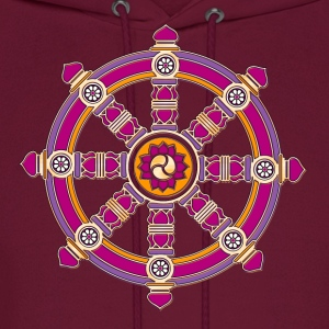 Dharma Wheel of Fortune, Buddhism, Chakra Hoodies - Men's Hoodie