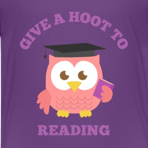 give a hoot to reading with pink owl Kids' Shirts - Kids' Premium T-Shirt