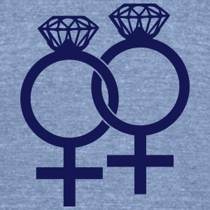 Lesbian Marriage Ring Symbol T-Shirts - Unisex Tri-Blend T-Shirt by American Apparel