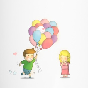 happy boy with balloons and girl Bottles & Mugs - Travel Mug