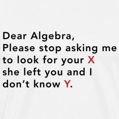 Dear Algebra  Stop asking to look for x T-ShirtsDear Math Stop Asking Me To Find Your X