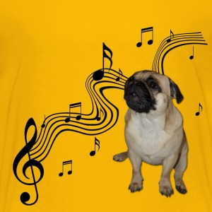 Music Pug with sheet music Kids' Shirts - Kids' Premium T-Shirt