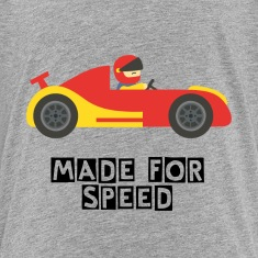 cute red and yellow race car with driver Kids' Shirts