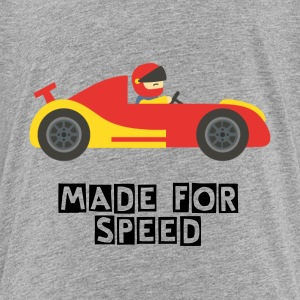 cute red and yellow race car with driver Kids' Shirts - Kids' Premium T-Shirt