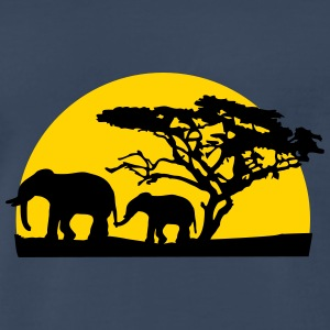 Sunset In Africa Tree And Elephants T-Shirts - Men's Premium T-Shirt
