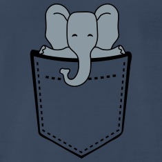 Cute Elephant Child In Breast Pocket T-Shirts