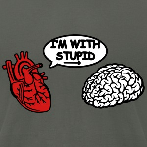 I'm with Stupid heart to brain T-Shirts - Men's T-Shirt by American Apparel