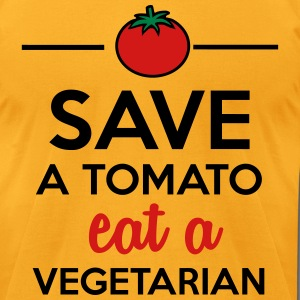 Tomato & Vegetable - Save a Tomato eat a Vegetaria T-Shirts - Men's T-Shirt by American Apparel