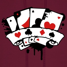 four playing cards and a banner Hoodies