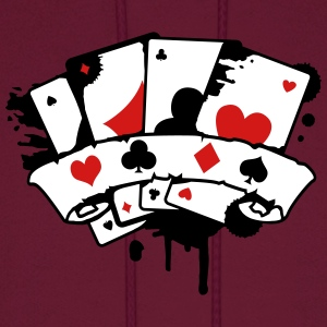 four playing cards and a banner Hoodies - Men's Hoodie