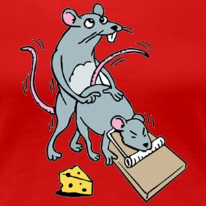 Mouse Screwing a Mouse in a Mousetrap  Women's T-Shirts - Women's Premium T-Shirt