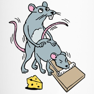 Mouse Screwing a Mouse in a Mousetrap  Bottles & Mugs - Travel Mug