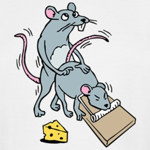 Mouse Screwing a Mouse in a Mousetrap  T-Shirts - Men's Tall T-Shirt