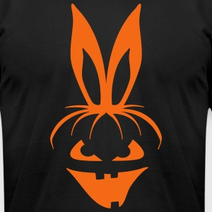 pumpkin bunny rabbit ears halloween hare scary  T-Shirts - Men's T-Shirt by American Apparel