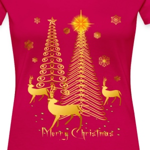 Gold Christmas Trees and Reindeer - Women's Premium T-Shirt