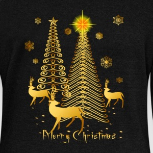 Gold Christmas Trees and Reindeer - Women's Wideneck Sweatshirt