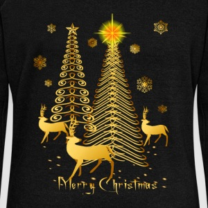 Gold Christmas Trees and Reindeer Oval - Women's Wideneck Sweatshirt